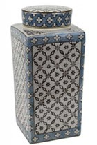 LIDDED JAR CROSS DIAMOND SQ5