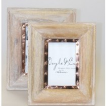 5 x 7 whitewash frame w copper trim